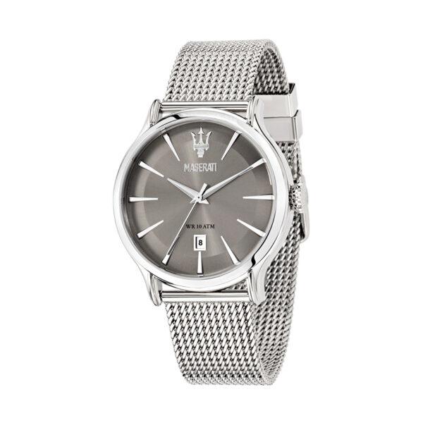 Reloj Maserati Epoca Hombre R8853118002 Acero plata con esfera gris y calendario con correa malla milanesa