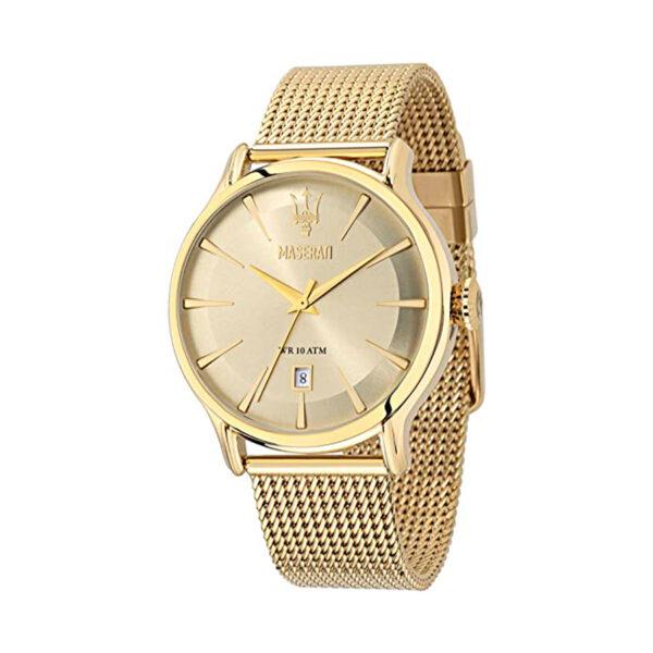 Reloj Maserati Epoca Hombre R8853118003 Acero dorado tres agujas y calendario con correa malla milanesa