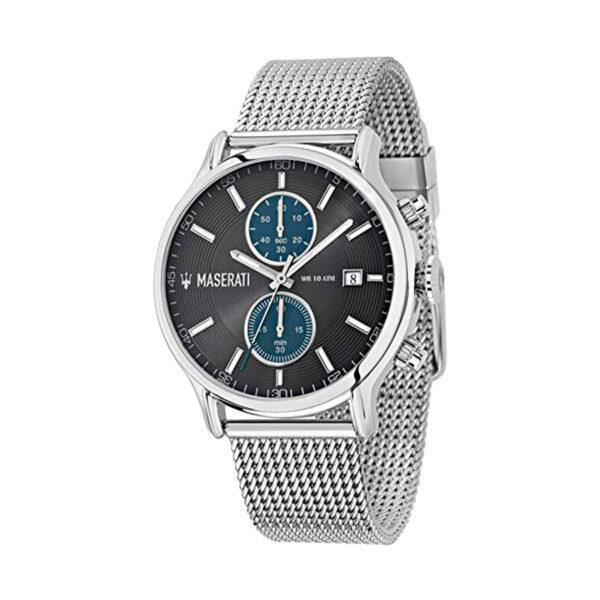 Reloj Maserati Epoca Hombre R8873618003 Acero plata con esfera negra azul y calendario con correa malla milanesa