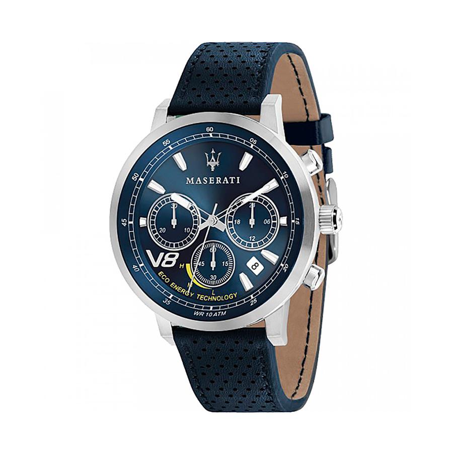 Reloj Maserati GT Gran Turismo Hombre R8871134002 Acero con esfera azul cronógrafo con calendario y movimiento solar con correa de piel negra