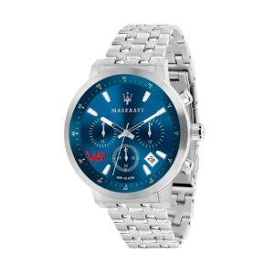 Reloj Maserati GT Gran Turismo Hombre R8873134002 Acero cronógrafo esfera azul y calendario con agujas neón