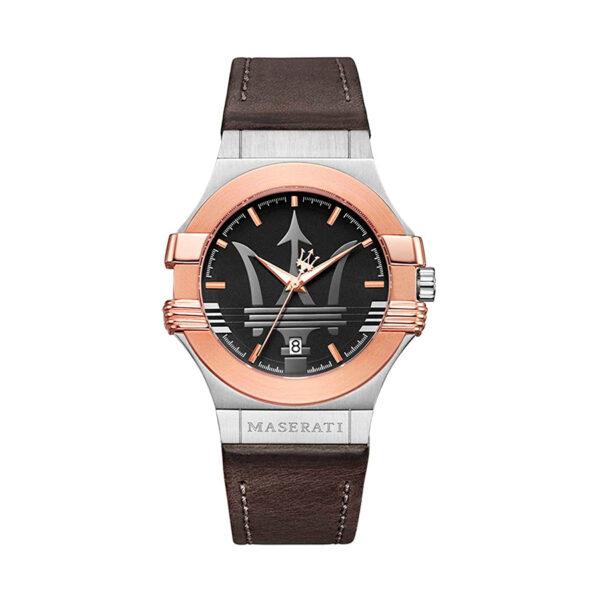 Reloj Maserati Potenza Hombre R8851108014 Acero plata con bisel rosado y esfera negra con calendario