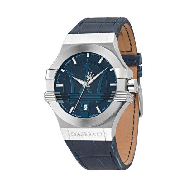 Reloj Maserati Potenza Hombre R8851108015 Acero plata con esfera azul y calendario