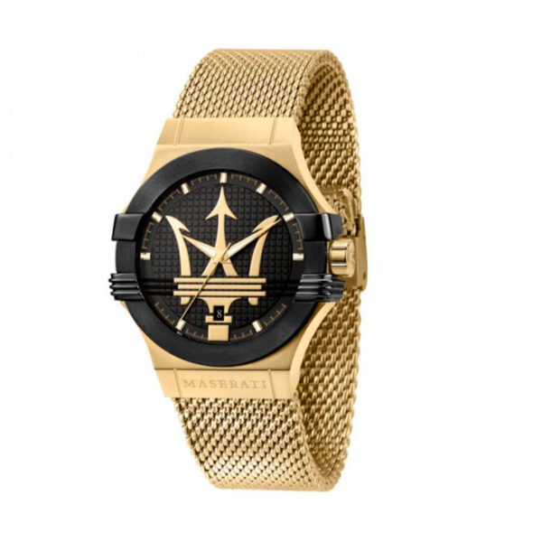 Reloj Maserati Potenza Hombre R8853108006 Acero dorado cronógrafo con esfera negra y corre malla milanesa