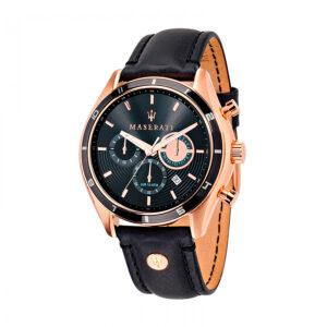 Reloj Maserati Sorpasso Hombre R8871624001 Acero rosado cronógrafo con calendario esfera negra y correa piel negra