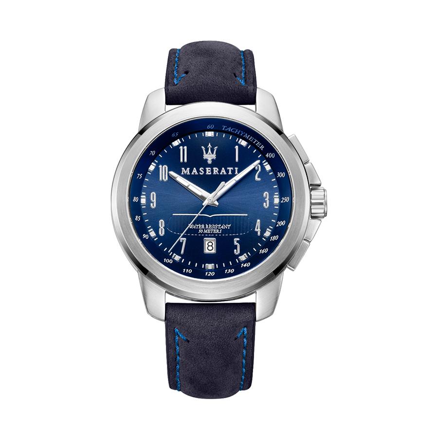 Reloj Maserati Successo Hombre R8851121003 Acero esfera azul con calendario y correa piel azul