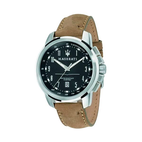 Reloj Maserati Successo Hombre R8851121004 Acero con esfera negra tres agujas y calendario con agujas neón