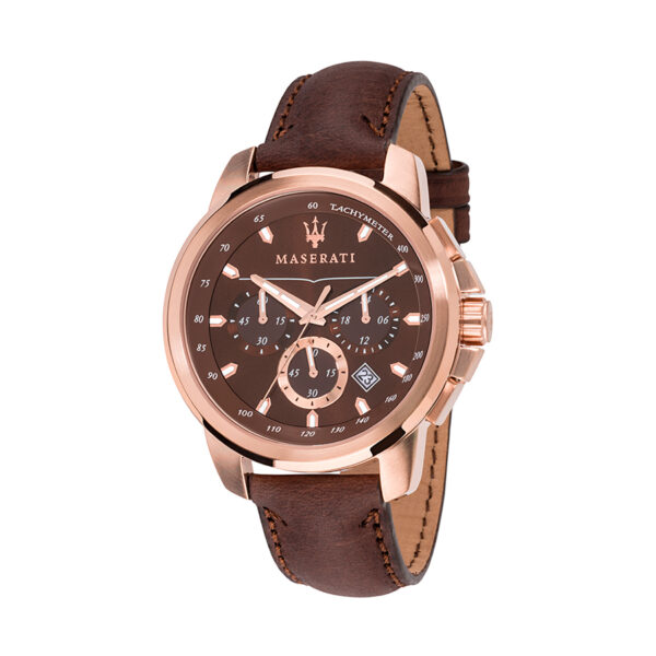 Reloj Maserati Successo Hombre R8871621004 Acero rosado cronógrafo con esfera marrón y calendario