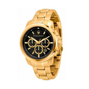 Reloj Maserati Successo Hombre R8873621013 Acero dorado cronógrafo con esfera negra y calendario
