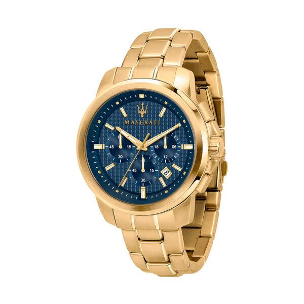 Reloj Maserati Successo Hombre R8873621021 Acero dorado cronógrafo con esfera azul y calendario