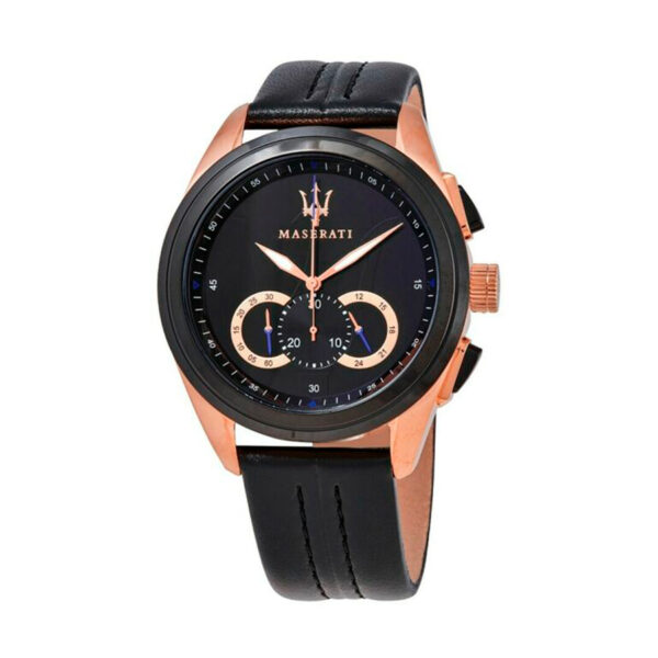 Reloj Maserati Traguardo Hombre R8871612025 Acero rosado cronógrafo y esfera negra con correa de piel negra