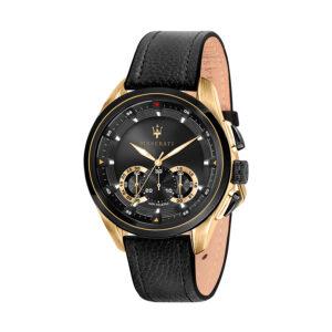 Reloj Maserati Traguardo Hombre R8871612033 Acero dorado cronógrafo con esfera negra calendario y bisel negro con correa piel negra