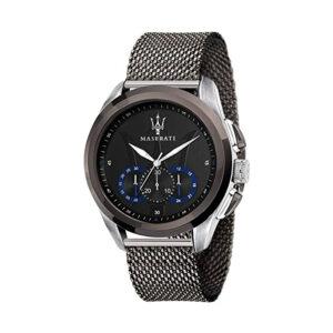 Reloj Maserati Traguardo Hombre R8873612006 Acero negro cronógrafo con esfera negra calendario y correa malla milanesa