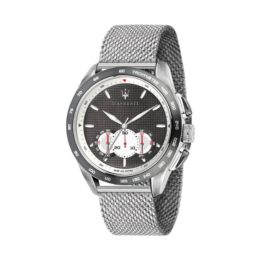 Reloj Maserati Traguardo Hombre R8873612008 Acero con esfera negra blanca cronógrafo y calendario con correa malla milanesa