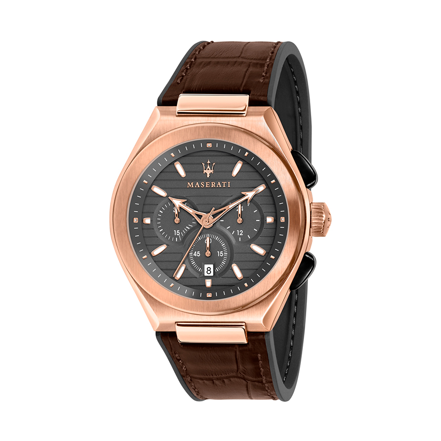 Reloj Maserati Triconic Hombre R8871639003 Acero rosado cronógrafo con esfera marrón y calendario