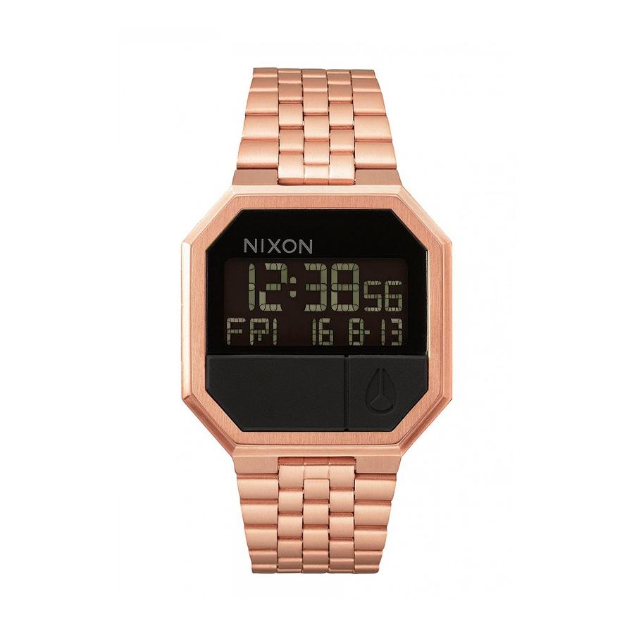 Reloj Nixon Re-run Hombre A158897 Esfera negra correa acero rosada
