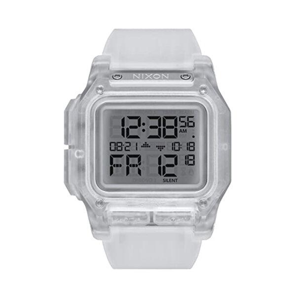 Reloj Nixon Regulus Unisex A1180961 Esfera gris correa silicona blanca