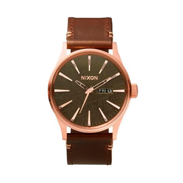 Reloj Nixon Sentry Hombre A1052001 Esfera marrón correa piel marrón