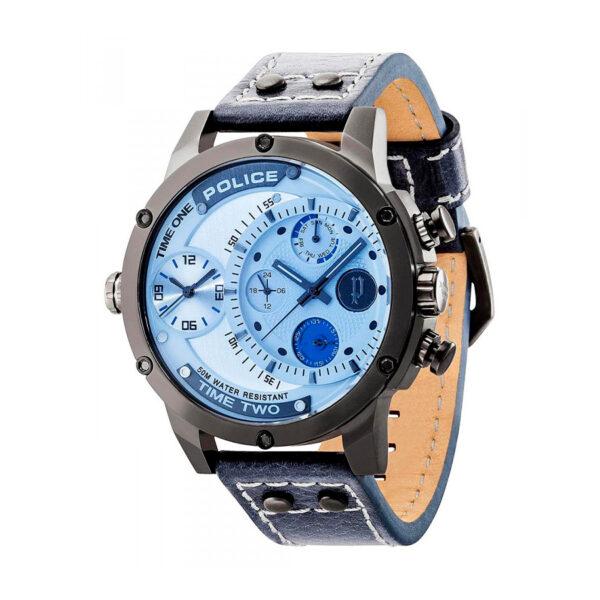 Reloj Police Adder Hombre R1451253003 Acero negro esfera 2 movimientos multifunción con cristal iridiscente y correa piel azul