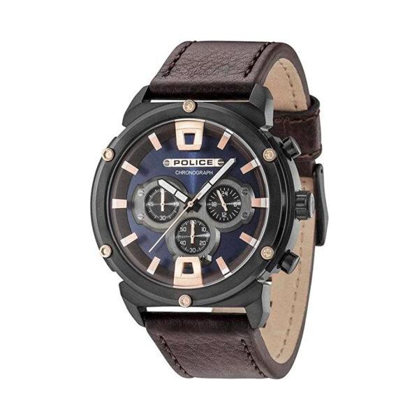 Reloj Police Armor Hombre R1471784001 Acero negro esfera con detalles en rosado cronógrafo y correa piel marrón
