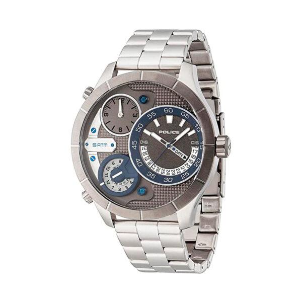 Reloj Police Bushmaster Hombre R1453254001 Acero esfera 3 movimientos analógicos con detalles azul y bisel gris
