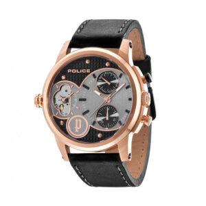 Reloj Police Diamondback Hombre R1451241001 Acero rosado multifunción con dos movimientos analógicos esfera bicolor negra y correa piel negra