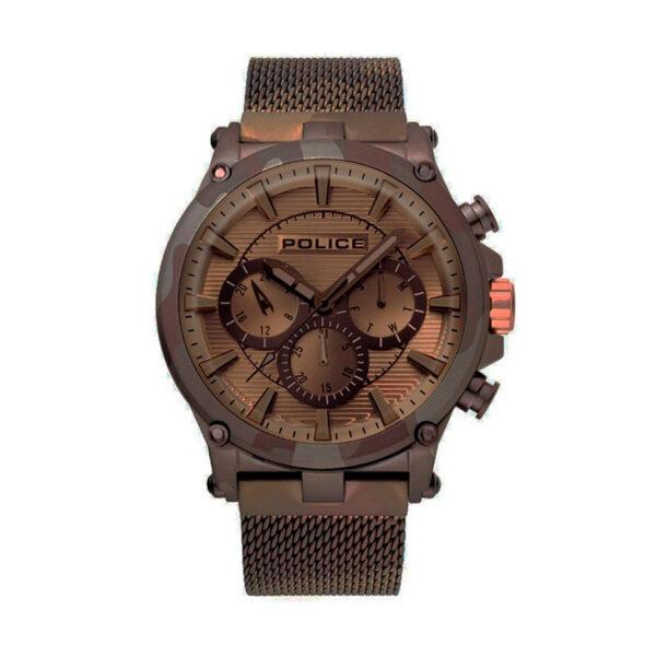 Reloj Police Taman Hombre R1453321005 Acero marrón estilo militar multifunción con calendario y correa malla milanesa