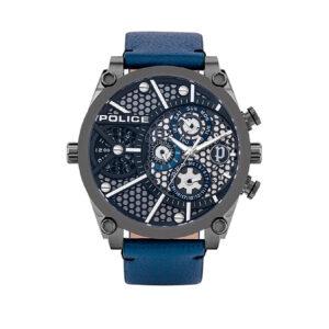 Reloj Police Vigor Hombre PL.15381JSU-61B Acero gris esfera dos movimientos multifunción y correa piel azul