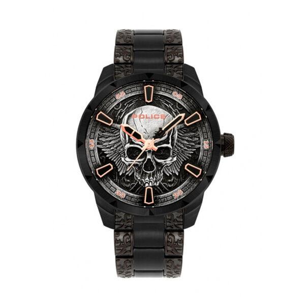 Reloj Police Xmas Set Hombre FW19XMASSET Acero negro esfera diseño calavera y pulsera