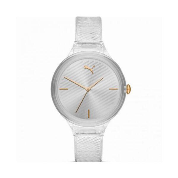 Reloj Puma Contour Mujer P1016 Correa transparente esfera plateada