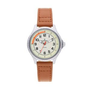 Reloj Radiant Adriano Hombre RA501602 Acero con esfera beige y naranja con correa piel marrón
