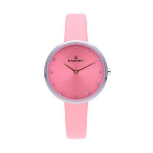 Reloj Radiant Angelina Mujer RA491601 Acero esfera rosa con cristales indicadores y correa piel rosa