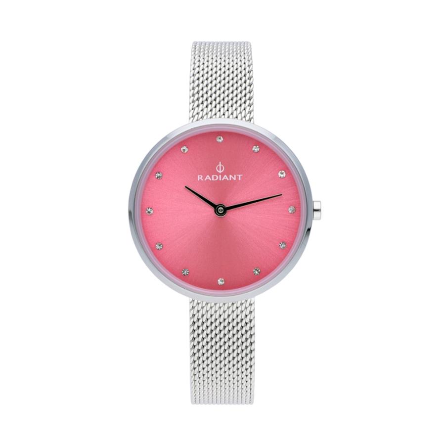 Reloj Radiant Angelina Mujer RA491603 Acero esfera rosa con cristales indicadores y correa malla milanesa acero plata