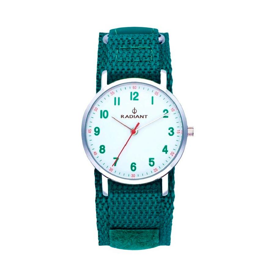 Reloj Radiant Antonello Hombre RA500601 Acero esfera blanca con detalles verdes y rojos con correa nylon verde
