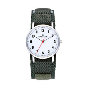 Reloj Radiant Antonello Hombre RA500602 Acero esfera blanca con aguja roja y correa nylon verde
