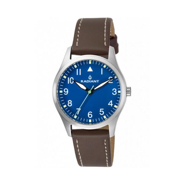Reloj Radiant Basecamp Hombre RA449602 Acero con esfera azul y correa piel marrón