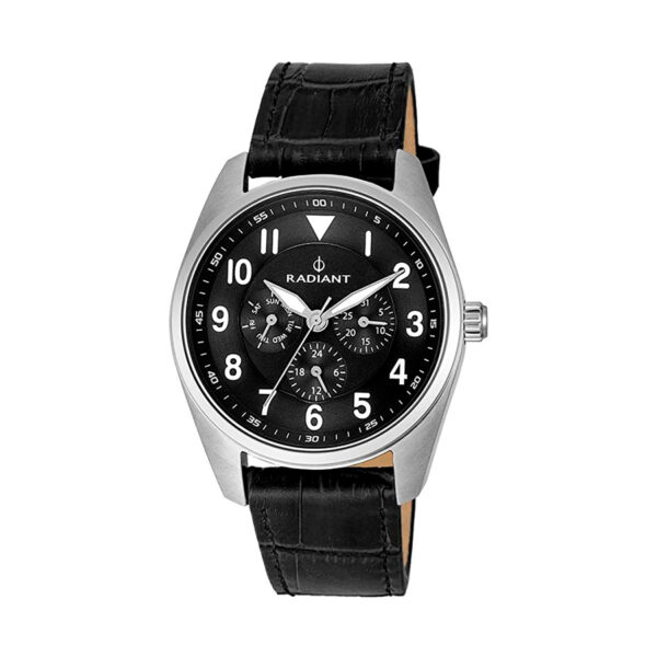 Reloj Radiant Brooklyn Hombre RA454601 Acero esfera negra con detalles blancos y correa piel negra