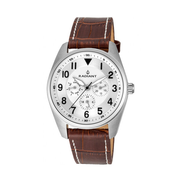 Reloj Radiant Brooklyn Hombre RA454602 Acero plata con esfera blanca con agujas luminiscentes y correa piel marrón