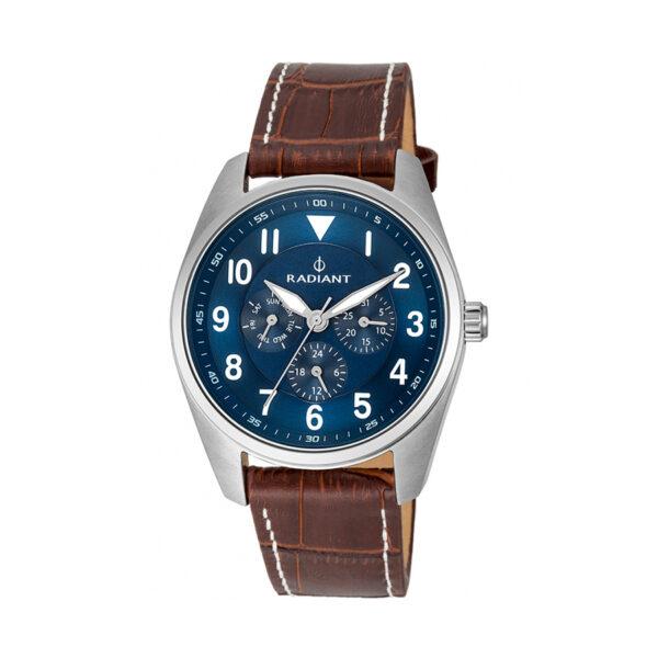 Reloj Radiant Brooklyn Hombre RA454603 Acero plata con esfera azul con agujas luminiscentes y correa piel marrón
