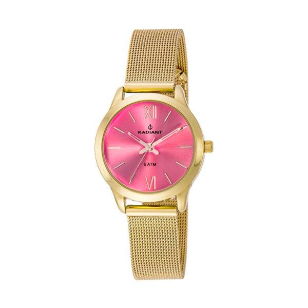 Reloj Radiant Cheri Mujer RA392209 Acero dorado esfera rosa y correa malla milanesa dorada