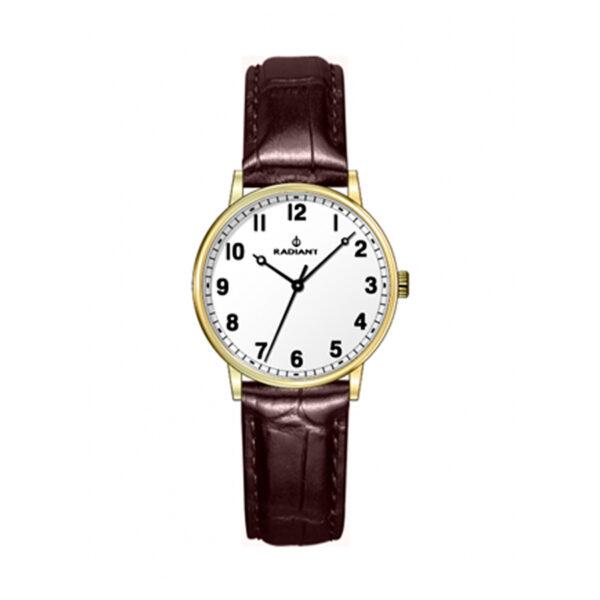 Reloj Radiant Classic Mujer RA481604 Acero dorado con esfera blanca y correa piel marrón