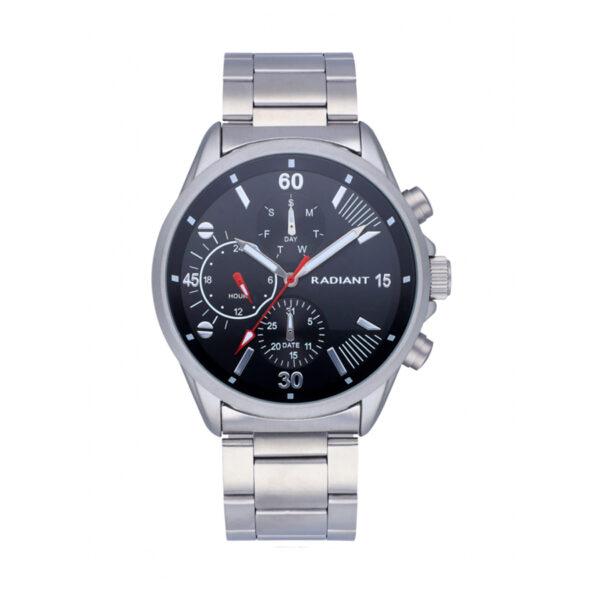 Reloj Radiant Commander Hombre RA571701 Acero plata con esfera negra y detalles en blanco y rojo con agujas neón