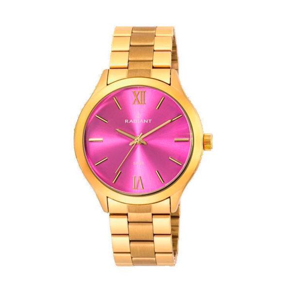 Reloj Radiant Cover Mujer RA330204 Acero dorado con esfera fucsia