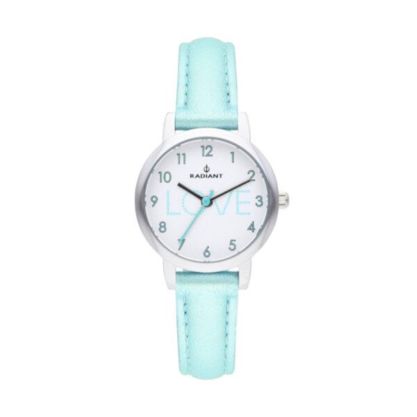Reloj Radiant Daniela Mujer RA499602 Acero con esfera blanca decorada love azul y correa piel azul