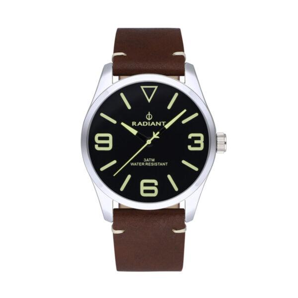 Reloj Radiant Darth Hombre RA533201 Acero con esfera negra y detalles beige con correa piel marrón