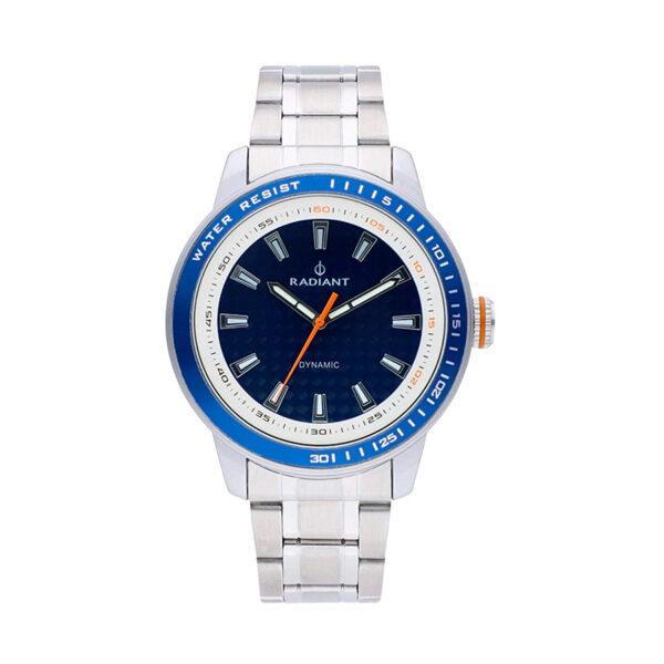 Reloj Radiant Dax Hombre RA494201 Acero con esfera azul blanca y detalles naranjas