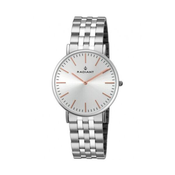 Reloj Radiant Diary Mujer RA377201 Acero con esfera plata y agujas e índices rosados