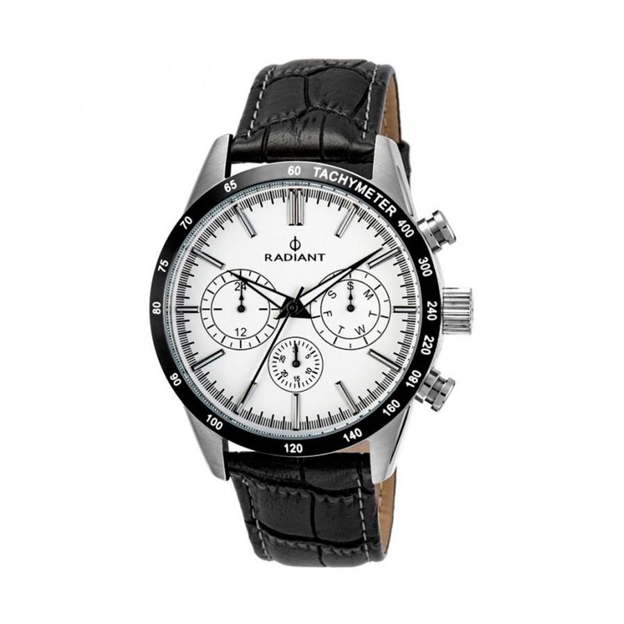 Reloj Radiant Empire Steel Hombre RA411605 Acero con esfera blanca y detalles negro con correa piel negra