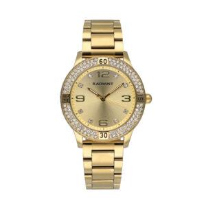 Reloj Radiant Frozen Mujer RA564201 Acero y esfera dorada con bisel y decorado con cristales