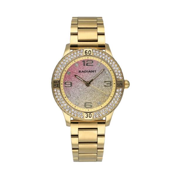 Reloj Radiant Frozen Mujer RA564202 Acero con esfera multicolor dorado y rosa con glitz y bisel decorado con cristales